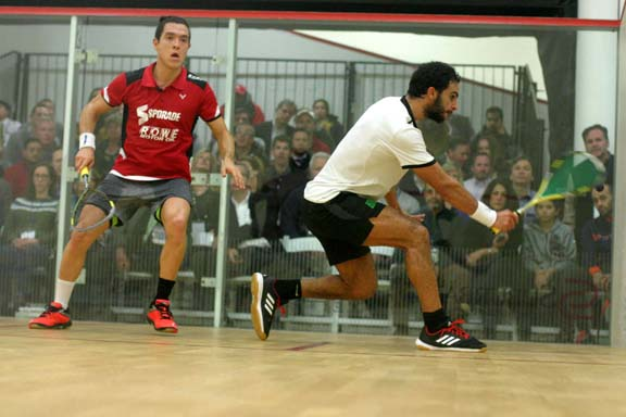 Egypt's Mohamed Abouelghar jumpted out to a 2-0 lead on Miguel Rodriguez only to see the flamboyant Colombian come roaring back to win in five. (MCO photo)