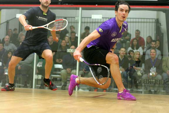 New Zealand's Paul Coll worked opponent Nicolas Mueller around the court Saturday with a series of deft drop shots. The Kiwi prevailed in 4 games. (MCO photo)