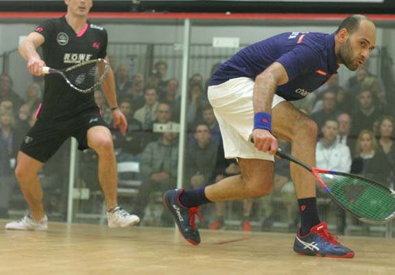 Marwan ElShorbagy drops a backhand in close against MCO finals opponent Paul Coll. (MCO photo)