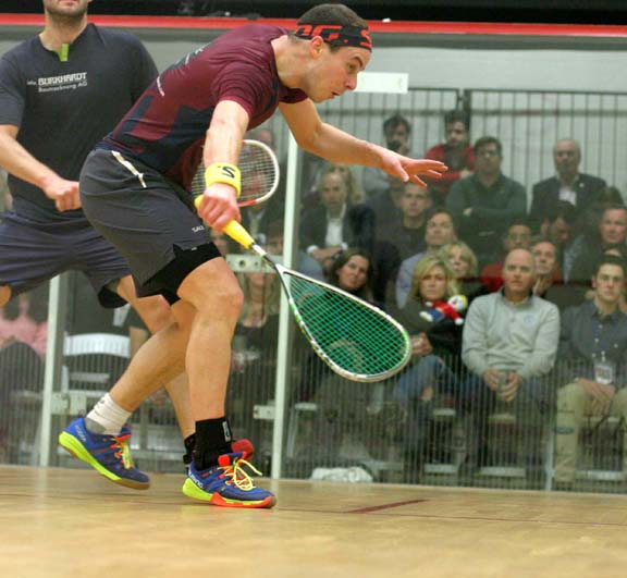 Qualifier Campbell Grayson's Cinderella run came to a halt in the Quarters against Nicolas Mueller of Swizerland. (MCO photo)
