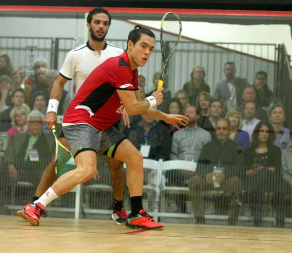 Miguel Rodriguez sets up for a backhand in his Quarterfinal come-from-behind win over third-seed Mohamed Abouelghar of Egypt. (MCO photo)