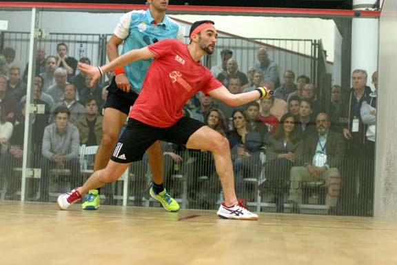 New York's Chris Hansen took big Omar Mossad of Egypt to five, but couldn't down the #7 seed. (MCO photo)