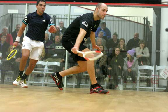 Swiss Nicolas Mueller, the #8 seed, couldn't hold off Egypt's Zahed Salem, going down in five. (MCO photo)