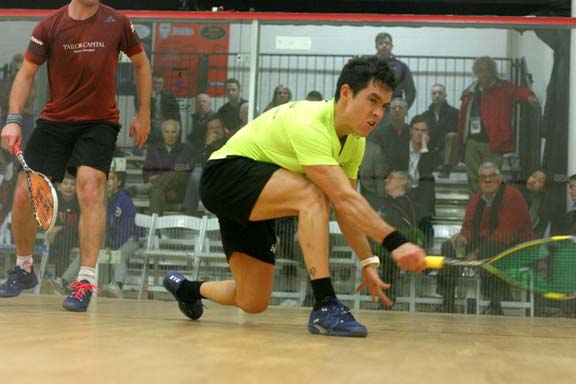2015 MCO champ and #2 seed Miguel Rodriguez blazed through his match against the skillful Mathieu Castagnet of France. (MCO photo)