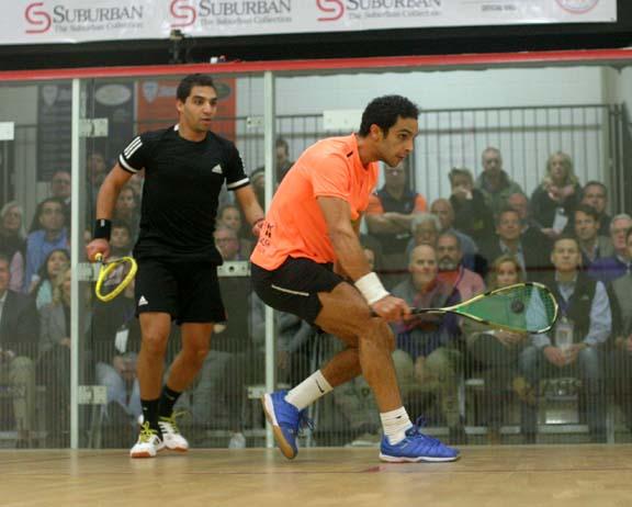 Eye on ball. World #10 Abouelghar advanced to a final meeting agaisnt Peru's Elais. (MCO photo)